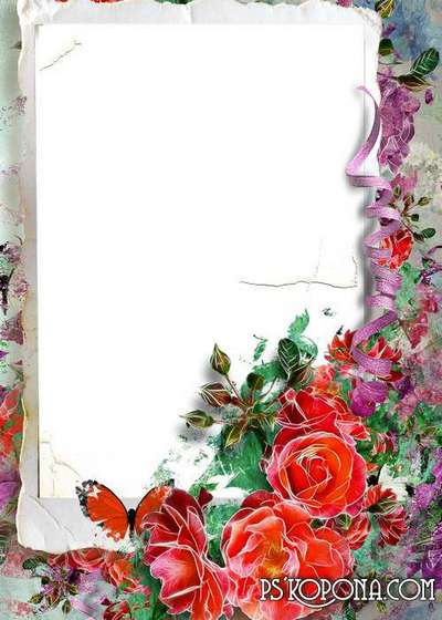 Beautiful frame with flowers for your photo - my favourite red roses