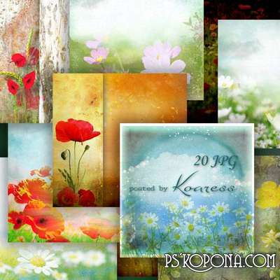 Set of colorful jpg backgrounds for Photoshop - Wildflowers