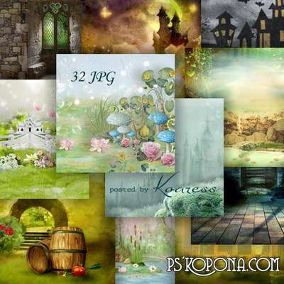 Set of jpg backgrounds for design - Magic fairy tales