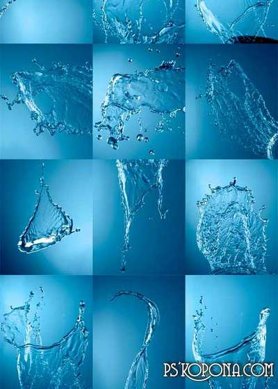 Water splashes raster graphics -2