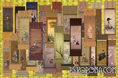 Clipart for Photoshop - Japanese ancient painting on rolls