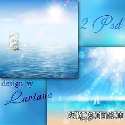 Multilayer 2 PSD backgrounds - Calm blue sea