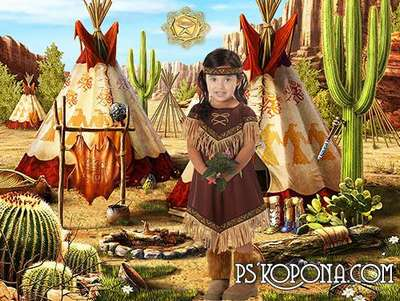 Children's template for photoshop - Pocahontas