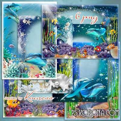 Marine summer photo frames - Underwater world