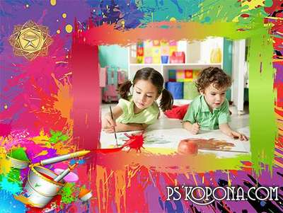 Children frame for photo - Paints