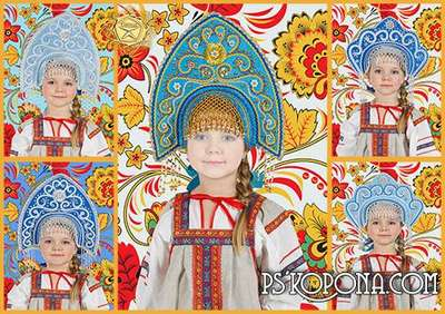 Children templates for Photoshop - Khokhloma