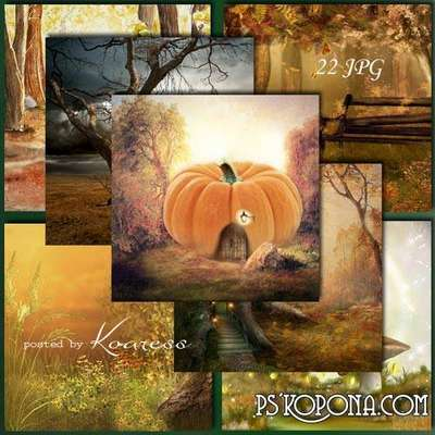 Set of raster backgrounds - The breath of autumn