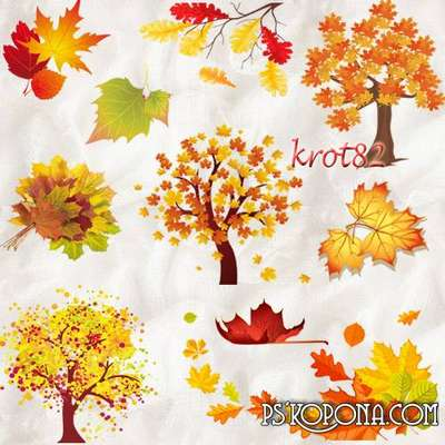 Clipart for Photoshop - Autumn trees and leaves