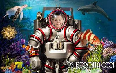Children's template for photoshop - Little diver