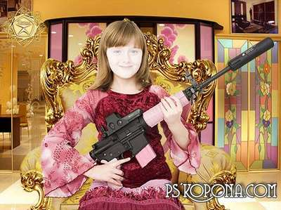 Children's template for Photoshop - Girl with a gun