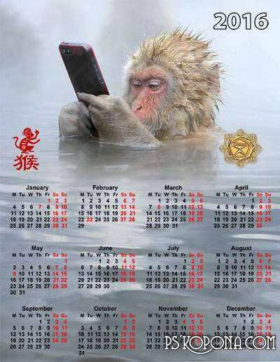 Calendar 2016 - Year of the Monkey