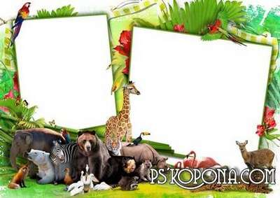 Child`s photo frame free download – Merry Piglets