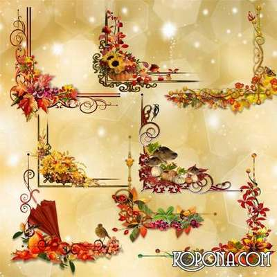 FREE PNG Clipart – corners – autumn Leaves lace