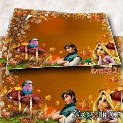 Children autumn photo frame for girls with cartoon characters