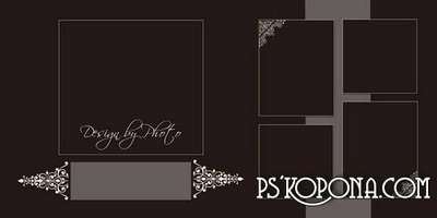 Classical wedding photo book template psd in chocolate tones