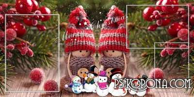 Baby album template psd for winter photo - Good cute snowman - New Year used to accompany