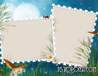Set of 20 psd photo frames for a summer theme (fonts in archive)