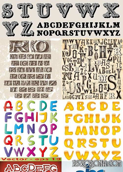 Collection of the alphabet in vector 25 EPS Files