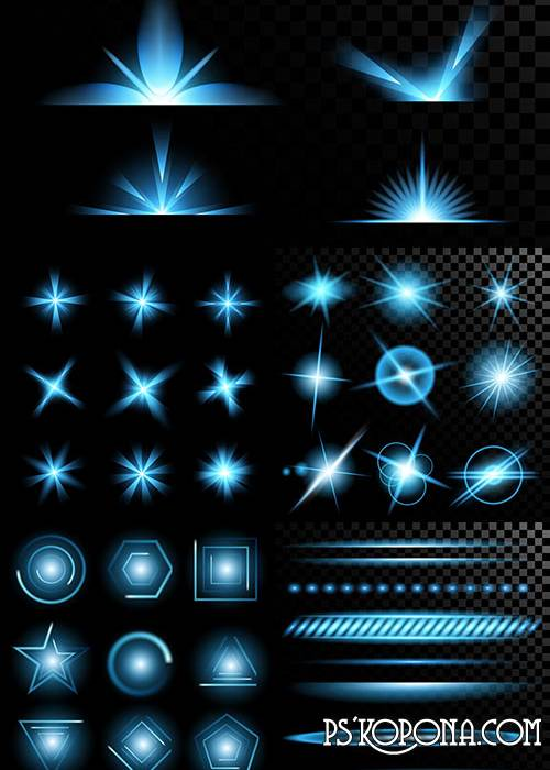 Bright light effects in vector (set 38 EPS)