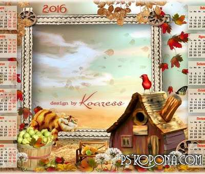 Free PSD children calendar with frame for 2016 - in the forest hut.