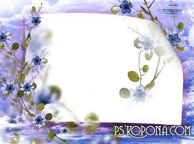 Photo frame - Sky-blue flowers