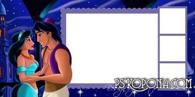 Baby photobook template psd with heroes of cartoon Aladdin