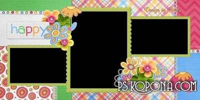 Baby photobook template psd - Happy moments