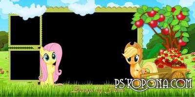 Baby photobook template psd with the heroes of the m/f Horses ponies
