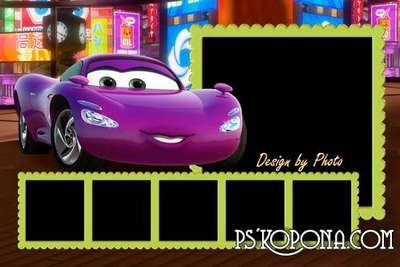 Baby photobook template psd with heroes of cartoon Cars