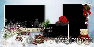 Christmas photo book template psd - waiting for Santa Claus