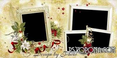 Christmas photo book template psd - Tree Golden sparkles