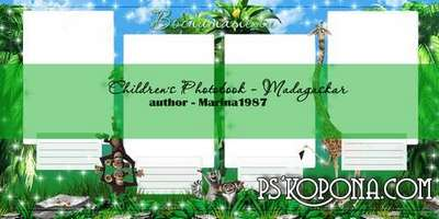 Childrens Photobook template psd - Madagaskar