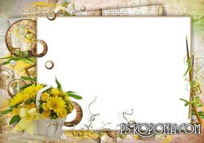 Flowers (PSD + PNG) photo frame for female photos with beautiful gerberas