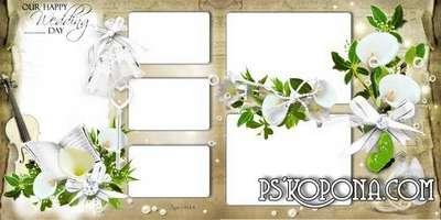 Template wedding photo book template psd - White calla