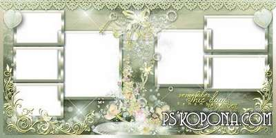 Wedding  photo-book – kisses tenderness and scatterings of flowers