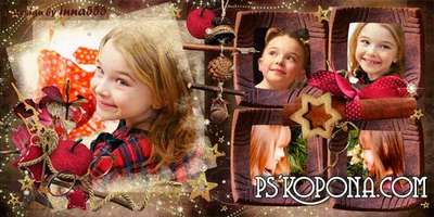 New Year photo book template psd - Christmas Joy