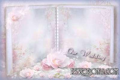 Frame for Photoshop - wedding album template - Pastel Pink
