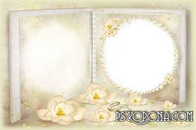 Frame for Photoshop - wedding album template - Pastel Yellow