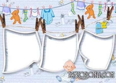 Baby photobook template psd for twins boys