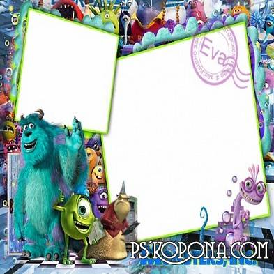 Child's PSD frame for photo with cartoon characters Monsters