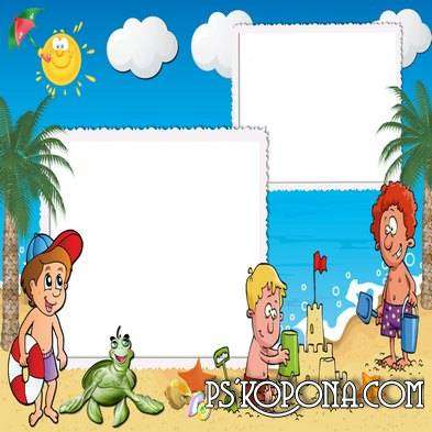 Maritime photo frame for children - Rest on the beach