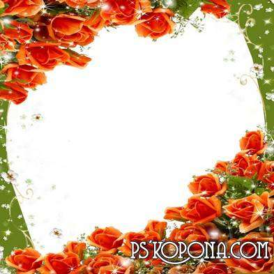 Photo frame with roses - Breathing in the scent of flowers