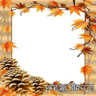 Frame for photoshop - Autumn leaves in the wind whirls