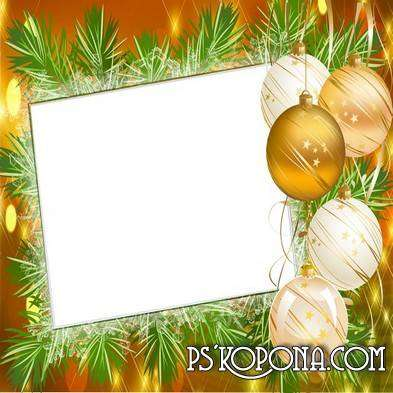 Frame for photoshop with fur-tree toys - Ball with upper branch