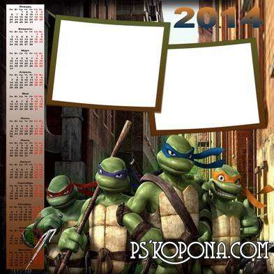 Calendar for photoshop with frames for photo 2014 - Teenage mutant ninja turtles