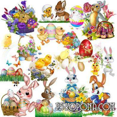 Assembling Easter Clipart - Rabbits and chicks with eggs