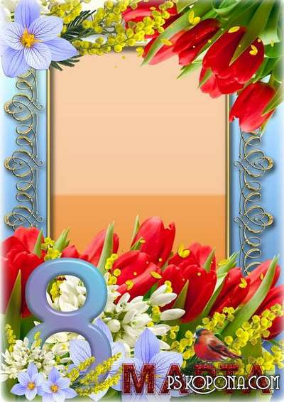 Set of 4 frames for congratulations on March 8