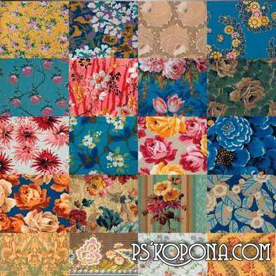 Set of floral textures (JPEG ) for design