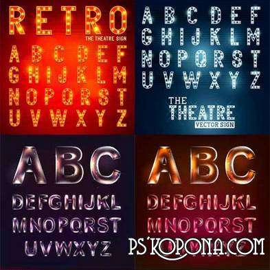 Alphabet in neon light - vector clipart 8 AI, EPS
