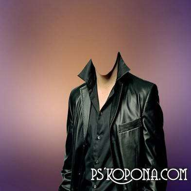 Template for Photoshop - In a leather jacket